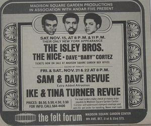 Isley Brothers Ike and Tina Turner 1969 Felt Forum Poster Type Ad