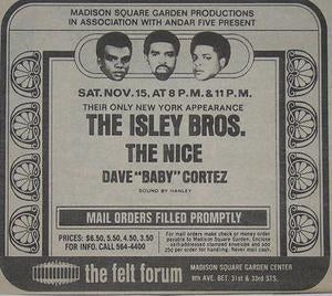 Isley Brothers The Nice 1969 Felt Forum Concert Poster Type Ad