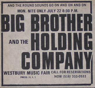 Janis Joplin Big Brother and The Holding Company Westbury Fair Concert Poster Type Ad