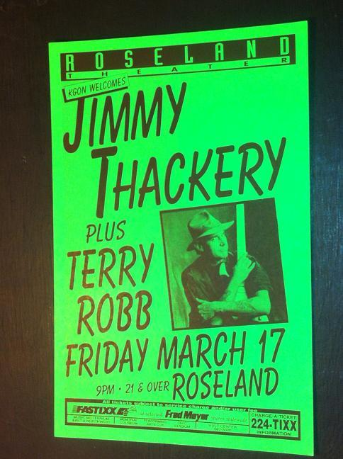 Jimmy Thackery Rare Original Portland Blues Concert Poster