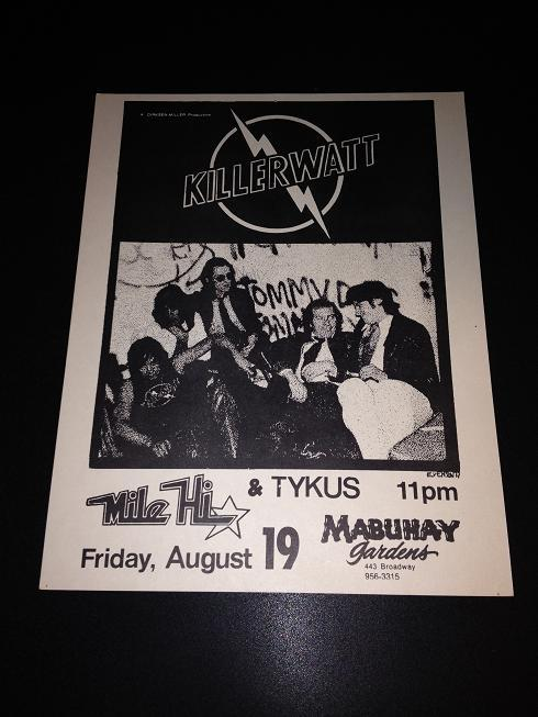 Killerwatt Mile Hi Tykus Mabuhay Gardens Punk New Wave Flyer