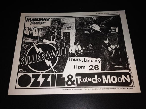 Killerwatt Ozzie Tuxedo Moon Ralph Records New Wave Punk Flyer