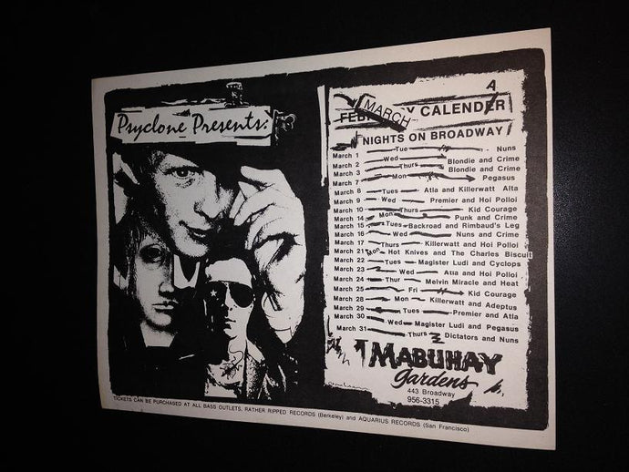Mabuhay Gardens Psyclone 1977 Nuns Blondie Crime Dictators Punk Flyer