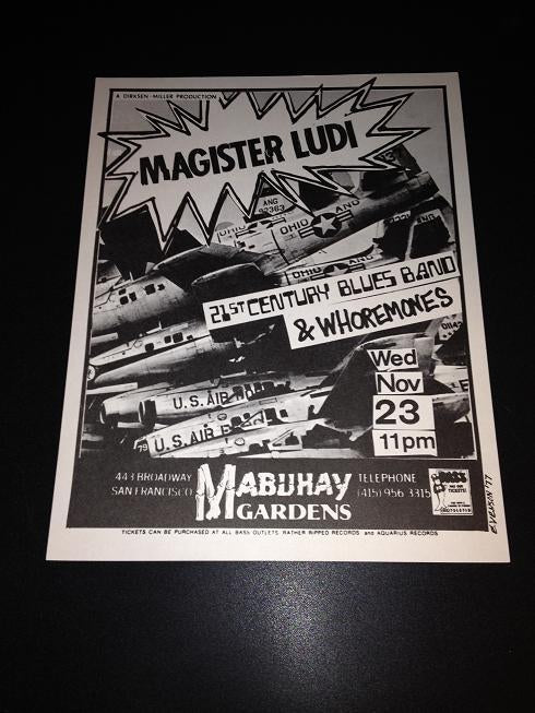 Magister Ludi Whoremones Mabuhay Garden Metal Punk Flyer