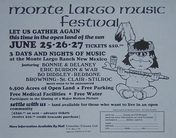 Monte Largo Music Festival Bo Diddley Concert Poster Type Ad