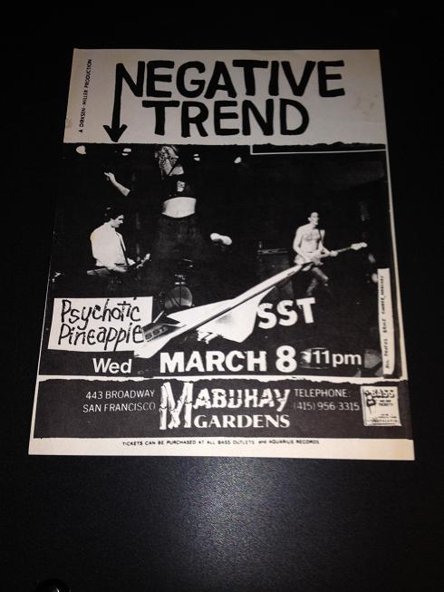 Negative Trend Psychotic Pineapple Rare Mabuhay Gardens Punk Flyer