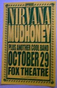 Nirvana Mudhoney Rare Fox Theater Portland 1991 Concert Poster