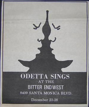 Odetta Rare 1970 Blues Bitter End West Concert Poster Type Ad
