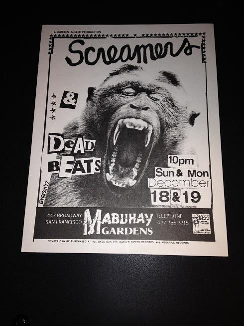 Screamers Dead Beats Punk Synth Pop Mabuhay Gardens Concert Flyer