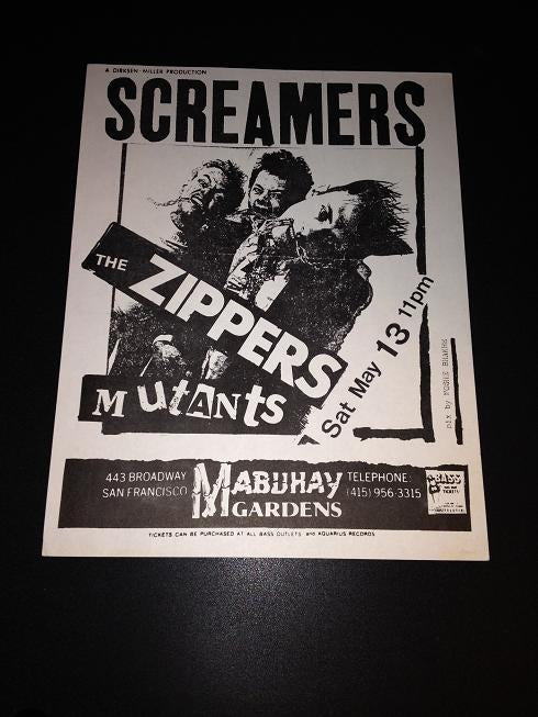 Screamers Zippers Mutants Rare Early Mabuhay Gradens Punk Flyer
