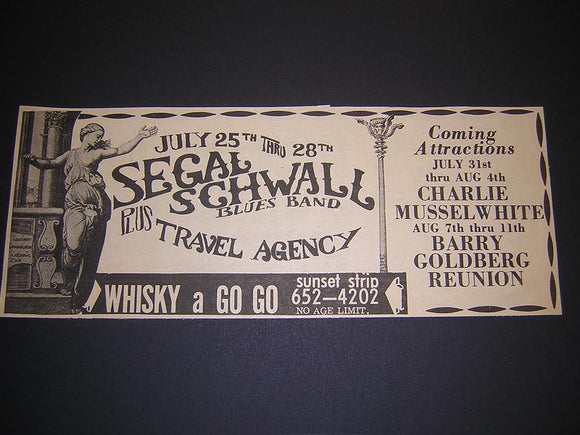 Segal Schwall Charlie Musselwhite 1968 Concert Poster Type Ad