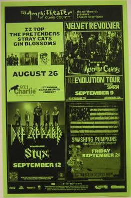 Smashing Pumkins ZZ Top Stray Cats NW Concert Poster