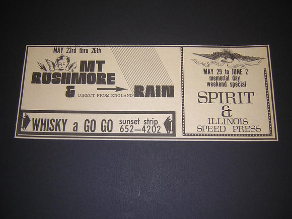 Spirit Randy California 1968 Whisky A Go Go Concert Poster Type Ad