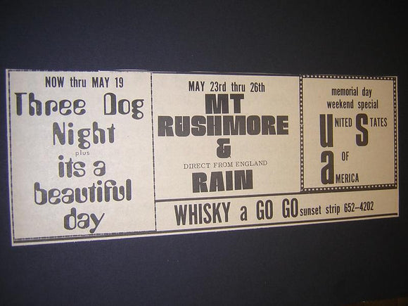 Three Dog Night It's A Beautiful Day Whisky A Go Go Concert Poster Type Ad
