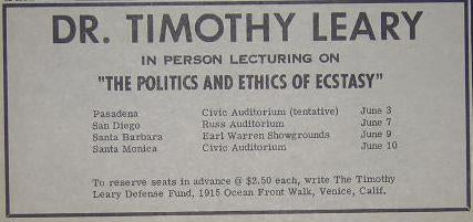 Timothy Leary Politics of Ecstasy 1966 LSD Lecture Ad
