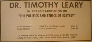 Timothy Leary The Politics of Ecstasy 1966 Lecture Poster Type Ad