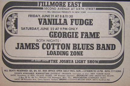 Vanilla Fudge James Cotton 1968 Fillmore east NYC Concert Poster Type Ad