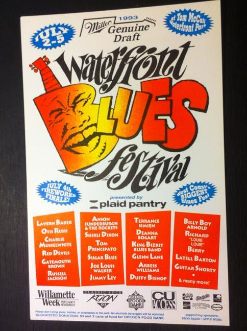 Waterfront Blues Festival 1993 Otis Rush Gatemouth Brown Concert Poster