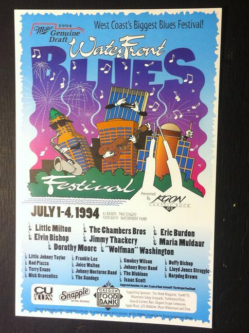 Waterfront Blues Festival 1994 Little Milton Eric Burdon Concert Poster