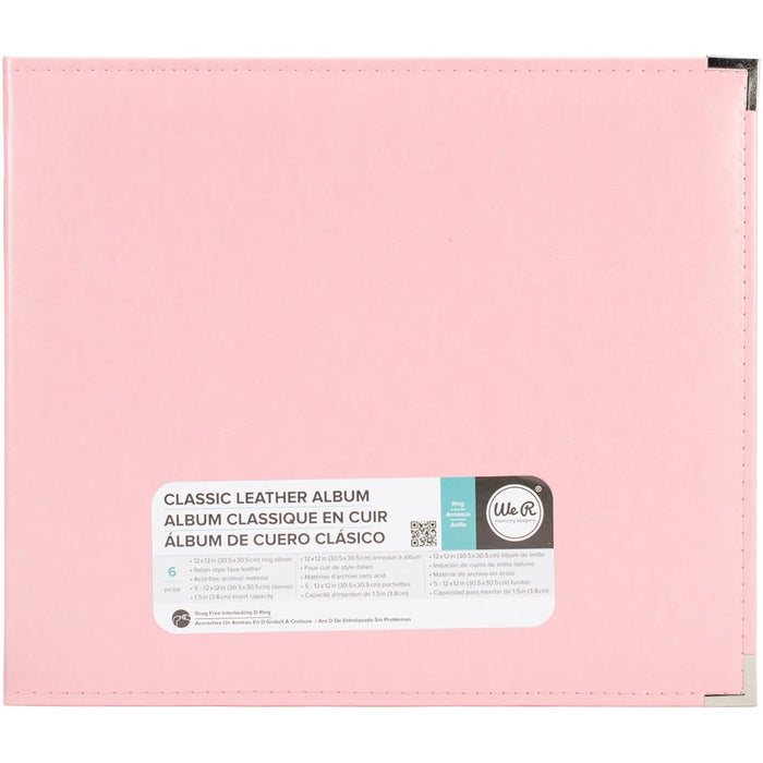 "We R Classic Leather 3-Ring Binder 12""X12"" - Pretty Pink"