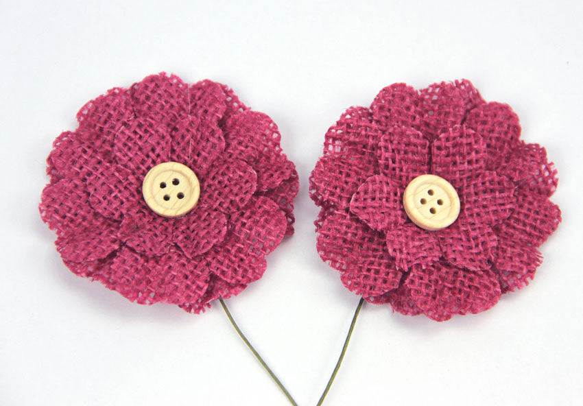 Burlap Flower with Button - Raspberry