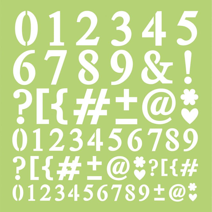 "Designer Template 12""x12"" - Numbers & Punctuation"
