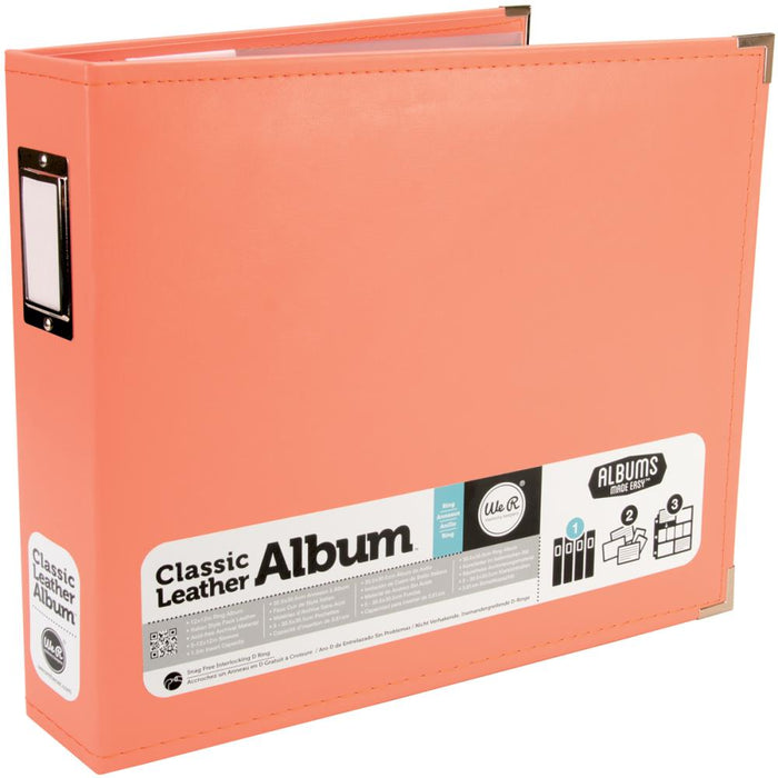 "We R Classic Leather 3-Ring Binder 12""X12"" - Coral"