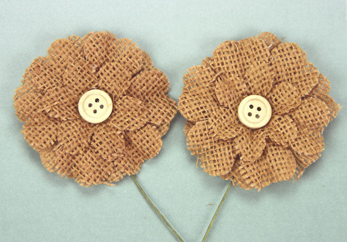 Burlap Flower with Button - Brown