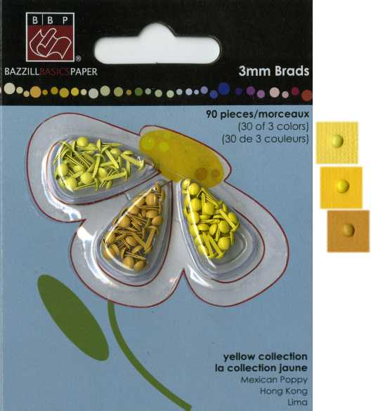 Bazzill 3mm Brad Assortment - Yellow