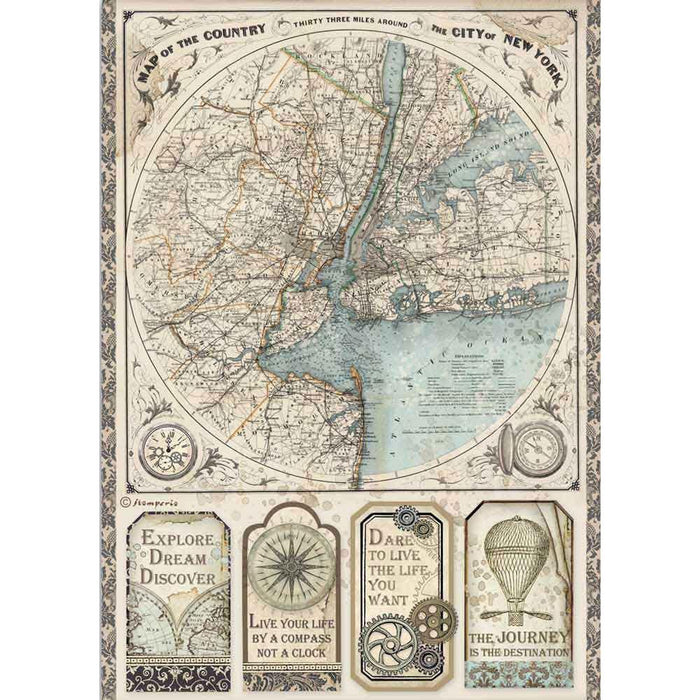 Sir Vagabond Rice Paper Sheet A4 -  Map Of New York