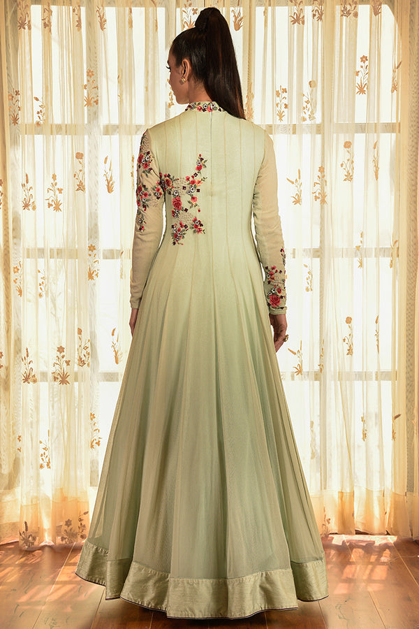 """Amber"" Chiffon Kalidar With Applique Work"