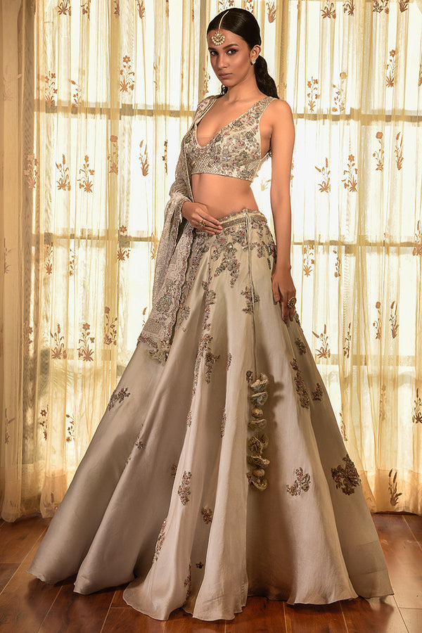 """PERSIAN DUST"" ORGANZA LEHENGA WITH CHIKANKARI DUPATTA"