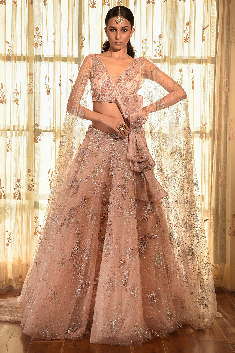 """Sea Shell"" Tulle Lehenga Set With Extended Sleeves."