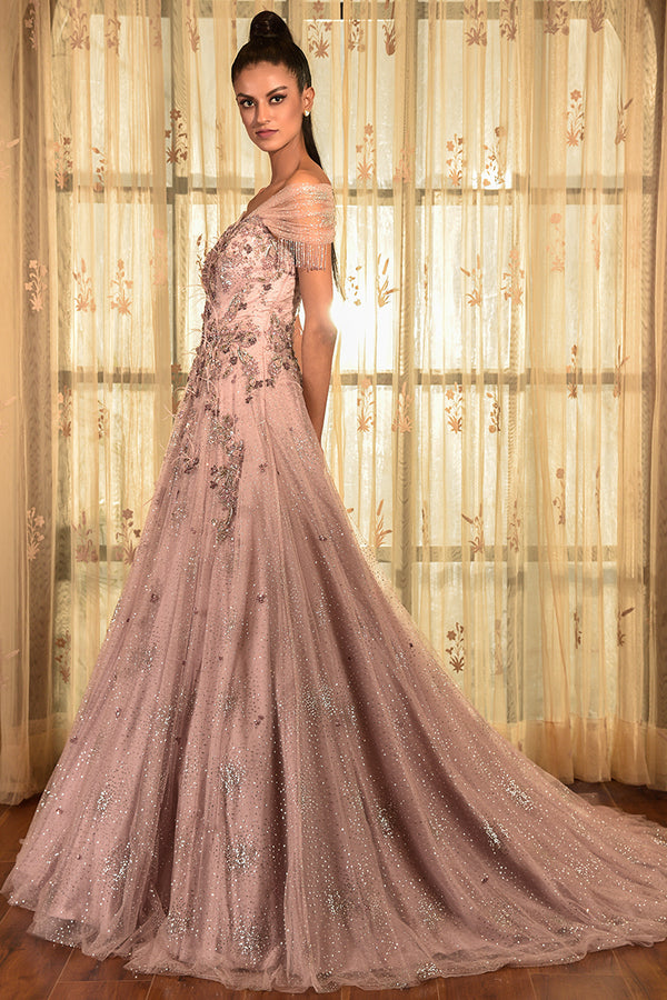 """DULECT"" SHIMMER TULLE GOWN"