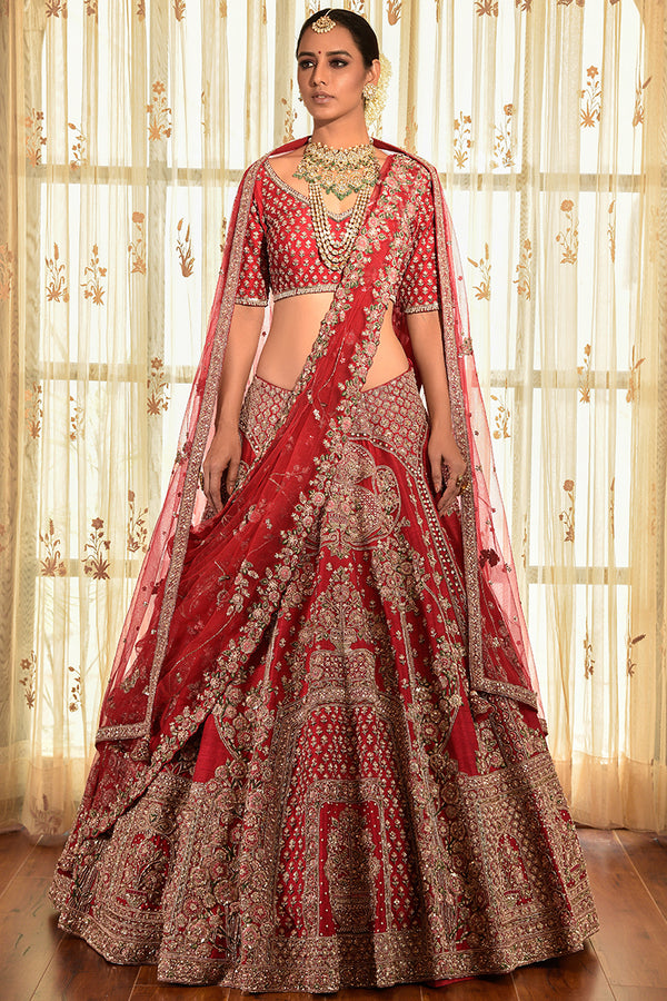 """Zenia"" Oak Raw Silk Lehenga"