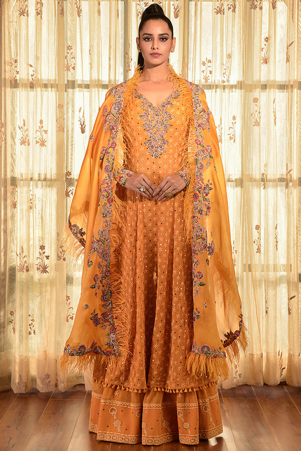 """MELLOW POETRY"" CHIFFON CHIKANKARI KURTA-SHARARA SET"