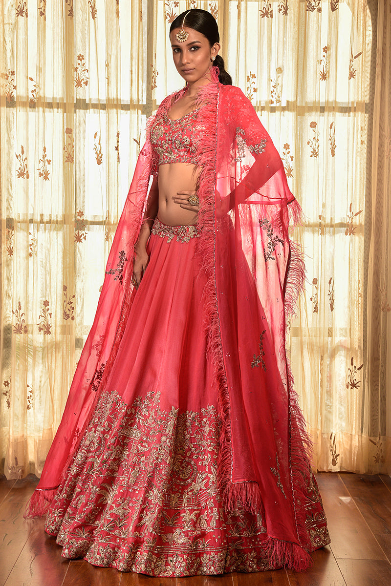 """Cedar Wood"" Organza Lehenga Set With Cape"