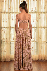 """FIONA"" PRINTED CHIFFON SHARARA SET WITH CAPE"