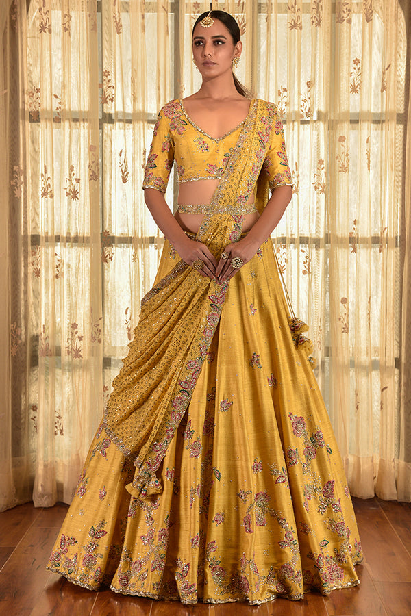 """Harvest Gold"" Lehenga Set With Zardozi Border"