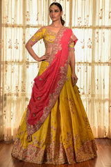 """PERI WRINKLE""  LEHENGA SET WITH TILLA BORDER"