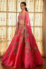 """Candy Schnapps"" Organza Lehenga With Tilla Border"