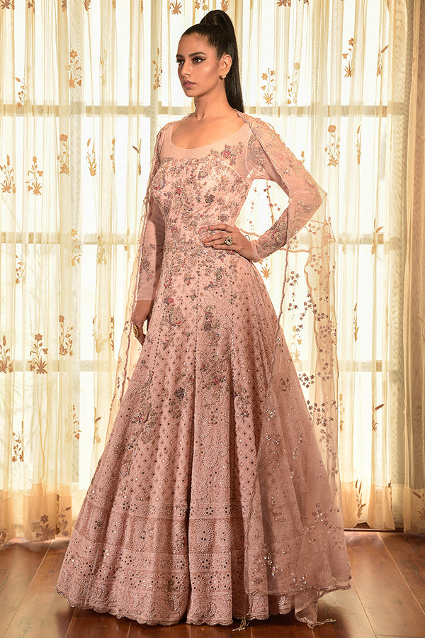 """SNOW ROSE"" GEORGETTE CHIKANKARI KALIDAR WITH CAPE"