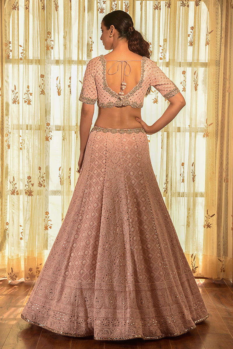 """APRICOT"" GEORGETTE CHIKANKARI LEHENGA WITH AN EMBELLISHED CAPE"