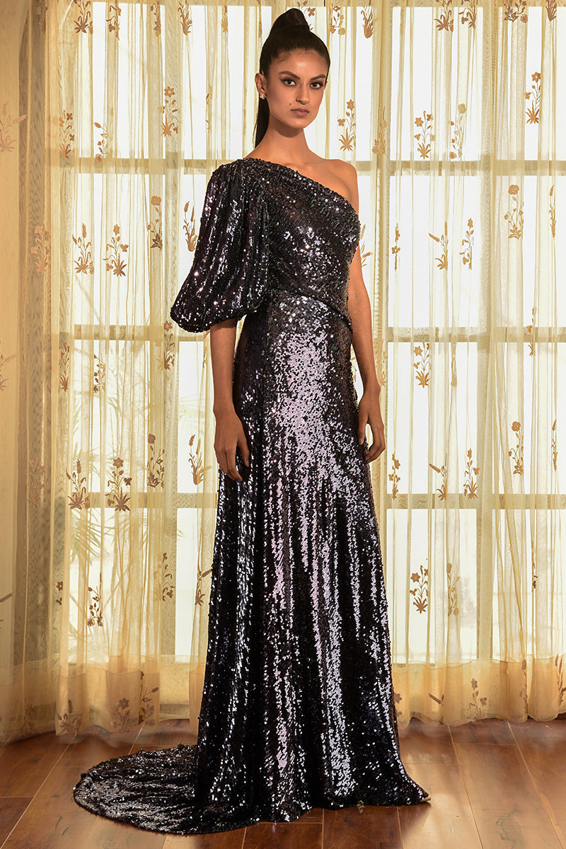 """TUSCAN"" BLUE SEQUINNED GOWN"