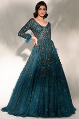 """Ulyana"" Shimmer Tulle Gown With Zardozi Embroidery"