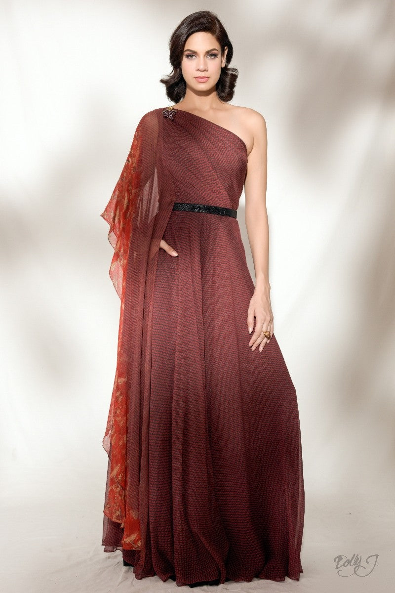 """Alina"" Printed Chiffon Off-Shoulder Gown"