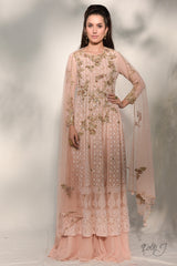 """Sefina"" Chikankari Georgette Kurta-Sharara Set With Zardozi Embroidery"