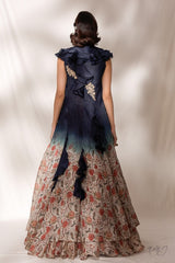 """Olga"" Printed Organza Ruffled Cape-Lehenga Set"