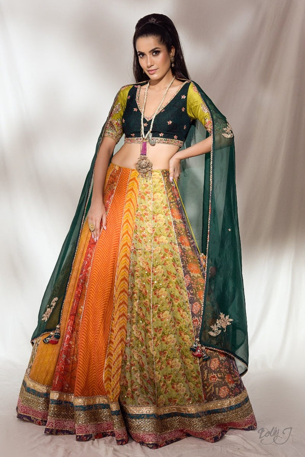 """Laina"" Multi Print Lehenga Set With Embroidered Organza Dupatta"