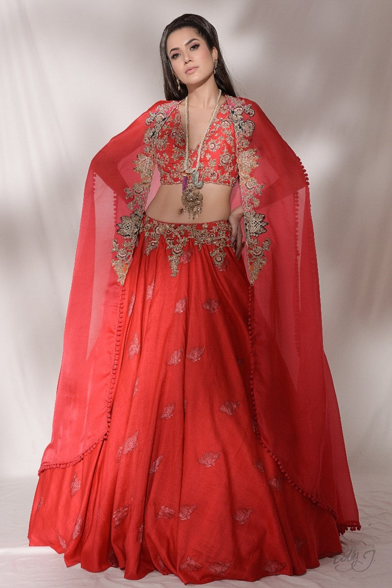 """Milenna"" Hand Woven Silk Lehenga With Embroidered Organza Cape"